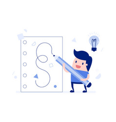 Businessman writing ideas on paper vector