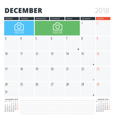 Calendar planner for december 2018 print design vector