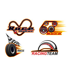 car races motor speed drag racing speed icons vector image
