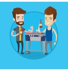 Caucasian friends having fun at barbecue party vector image