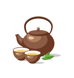 ceramic teapot and cup bowls green tea vector image