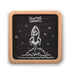 chalk on a blackboard rocket vector image