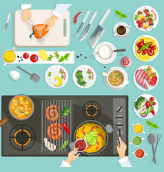 Chef Workplace Top View vector