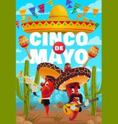 Cinco de mayo poster cartoon mariachi band vector