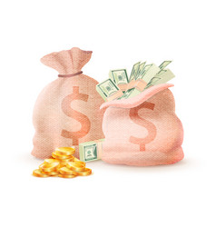 closed open sacks with dollar signs full money vector image