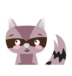 Colorful adorable and surprised raccoon wild vector