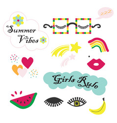 Colorful summer vibes funky and fun feminine set vector