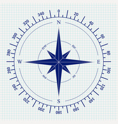 compass icon on notebook shee vector image