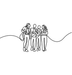 continuous line group talking students first vector image