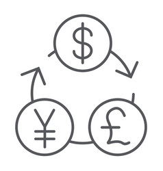 Currency exchange thin line icon financial and vector