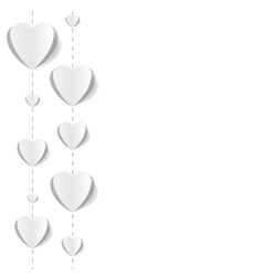 Cut out paper hearts background vector image