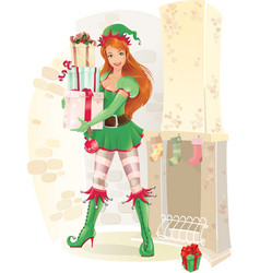 cute female elf with christmas presents vector image