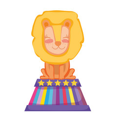 cute lion circus in stage vector image