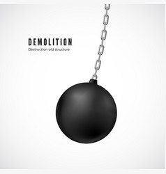Demolition ball on chain in motion heavy black vector