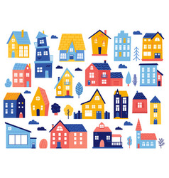 doodle cottages cute tiny town houses minimal vector image