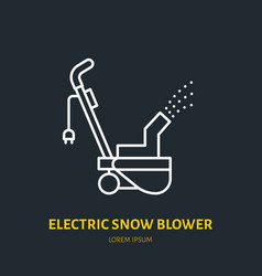 Electric snow blower flat line icon sign vector