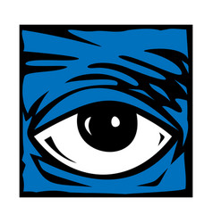 eye blue icon symbol logo vector image