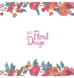 Floral border with flowers berries and butterfly vector image