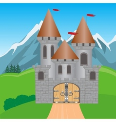 Fortress in mountain vector