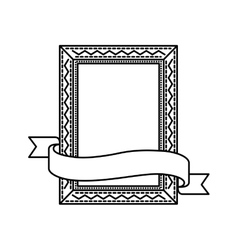 Frame with ribbon icon Hand draw label design vector image
