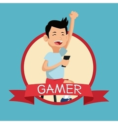 Funny gamer mobile phone play banner blue vector