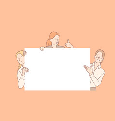 girls holding big empty banner concept vector image