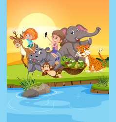girls playing with wild animals vector image