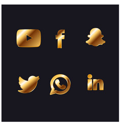 Gold social network icon vector