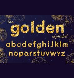 golden bubbles alphabet vector image