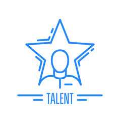 Got talent - emblem with man and star celebrity vector