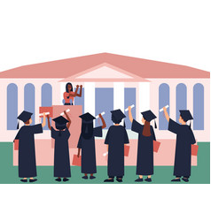 Graduates with diplomas and scroll vector