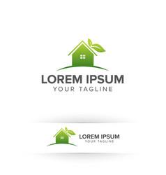 green home eco house nature logo design concept vector image