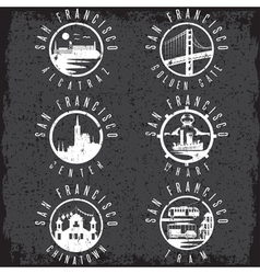 Grunge label set with landmarks of San Francisco vector