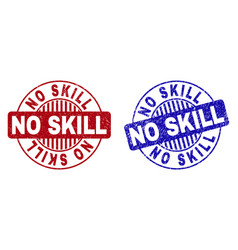 Grunge no skill scratched round stamps vector