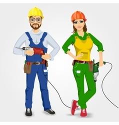Handyman and handywoman holding drills vector
