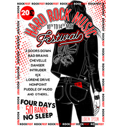 hard rock festival poster with girl vector image