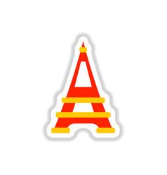 In paper sticker style eiffel vector