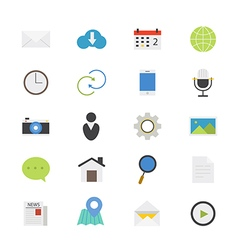 Internet Web and Mobile Flat Icons color vector image
