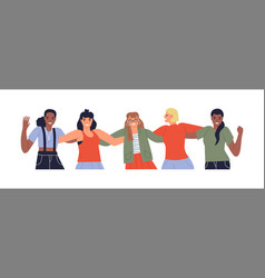 isolated diverse young woman friends hug together vector image