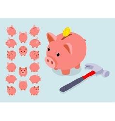 Isometric piggy bank vector