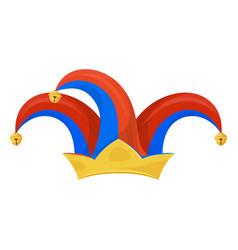 jester hat icon clown head wear to make jokes vector image