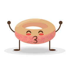 kawaii donut food sweet vector image