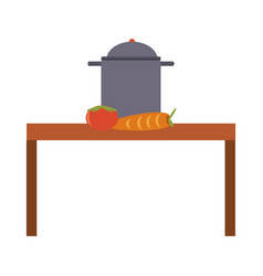 kitchen table and cooking pot vector image