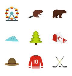 landmarks of canada icon set flat style vector image