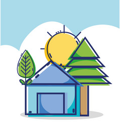 linear house with pine tree and sun weather vector image