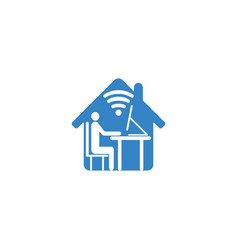 man working on computer from home icon in the vector image