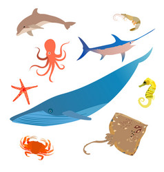 Marine fish icon set ocean underwater animals vector