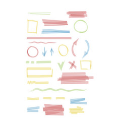 markers set wavy and round colored lines vector image