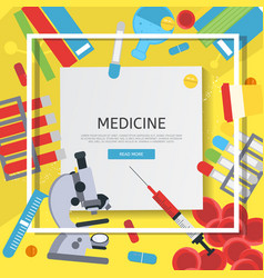 medicine banner with flat icons vector image