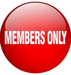 Members only red round gel isolated push button vector